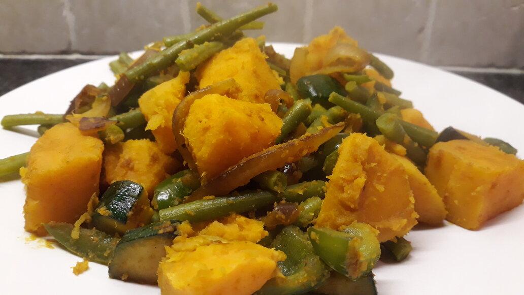 Zoete-aardappel-met-haricots-verts